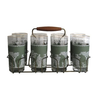 Neoclassical High Ball Glasses & Caddy - Set of 9