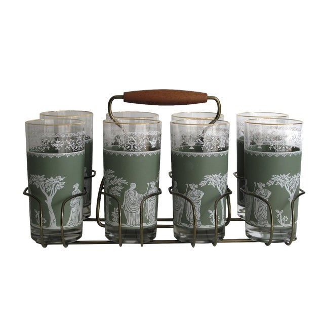 Image of Neoclassical High Ball Glasses & Caddy - Set of 9