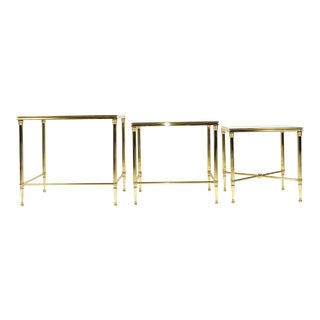 Brass & Glass Nesting Tables - Set of 3