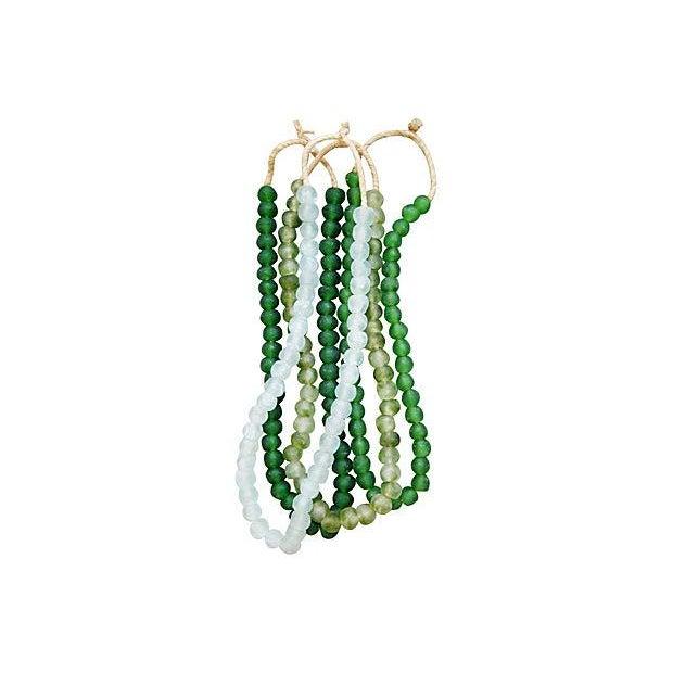 Image of Emerald & Ice Sea Glass Bead Strands - Set of 4