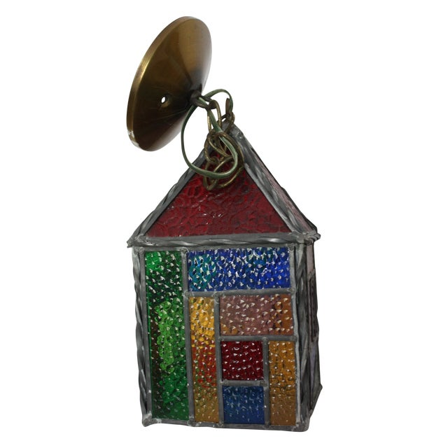 Vintage Stained Glass Pendant - Image 1 of 4