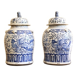 Pair of 19th Century Blue and White Chinese Urns