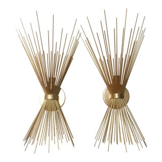 Kelly Wearstler Visual Comfort Gilt Strada Sconces- A Pair