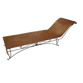 Jean-Charles Moreux Chaise Lounge in Wrought Iron and Raffia France circa 1950