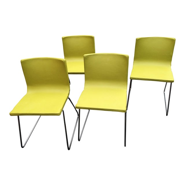 Image of David Rowland Mid-Century Modern Leather & Chrome Chairs - Set of 4