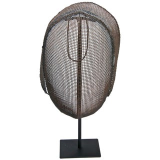 Vintage French Fencing Mask On Recycled Iron Stand