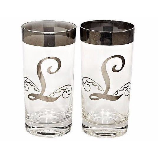 Image of 1960s Silver Monogrammed Tumblers - A Pair