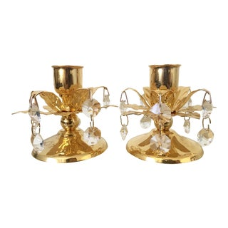 Pair of Gold and Crystal Chandelier Candle Holders