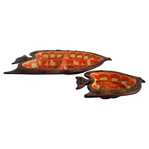 Image of Mid-Century Modern Fish Serving Dishes - A Pair