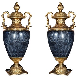Neoclassical Marble & Bronze Cassolettes - A Pair