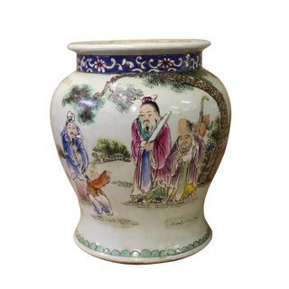 Chinese White Base Color 3 Gods Round Porcelain Stand Display