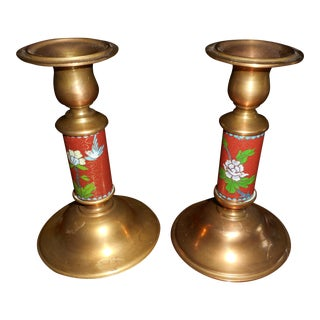 Cloisonne & Brass Candleholders - a Pair