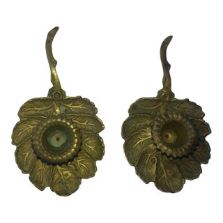 Antique Leaf Shaped Brass Candle Holders - Pair
