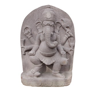 Stone Carved Volcanic Dancing Ganesha