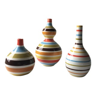 Jonathan Adler Striped Vases - Set of 3