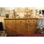 Image of Large Pine Three-Drawer Console Credenza