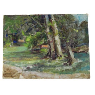 Vintage River Water and Tree Landscape Oil Painting