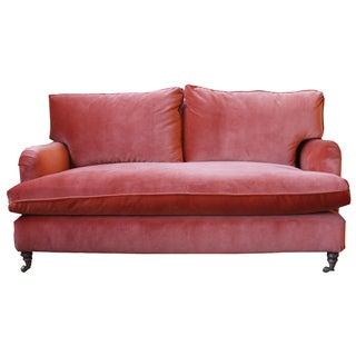 Vintage Rust-Colored Velvet Sofa