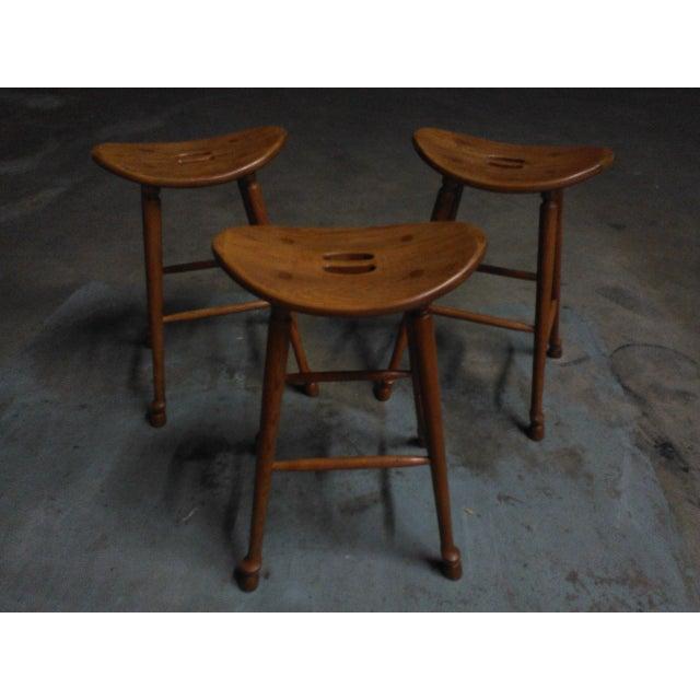 Saddle Seat Bar Stools - Set of 3 - Image 2 of 4