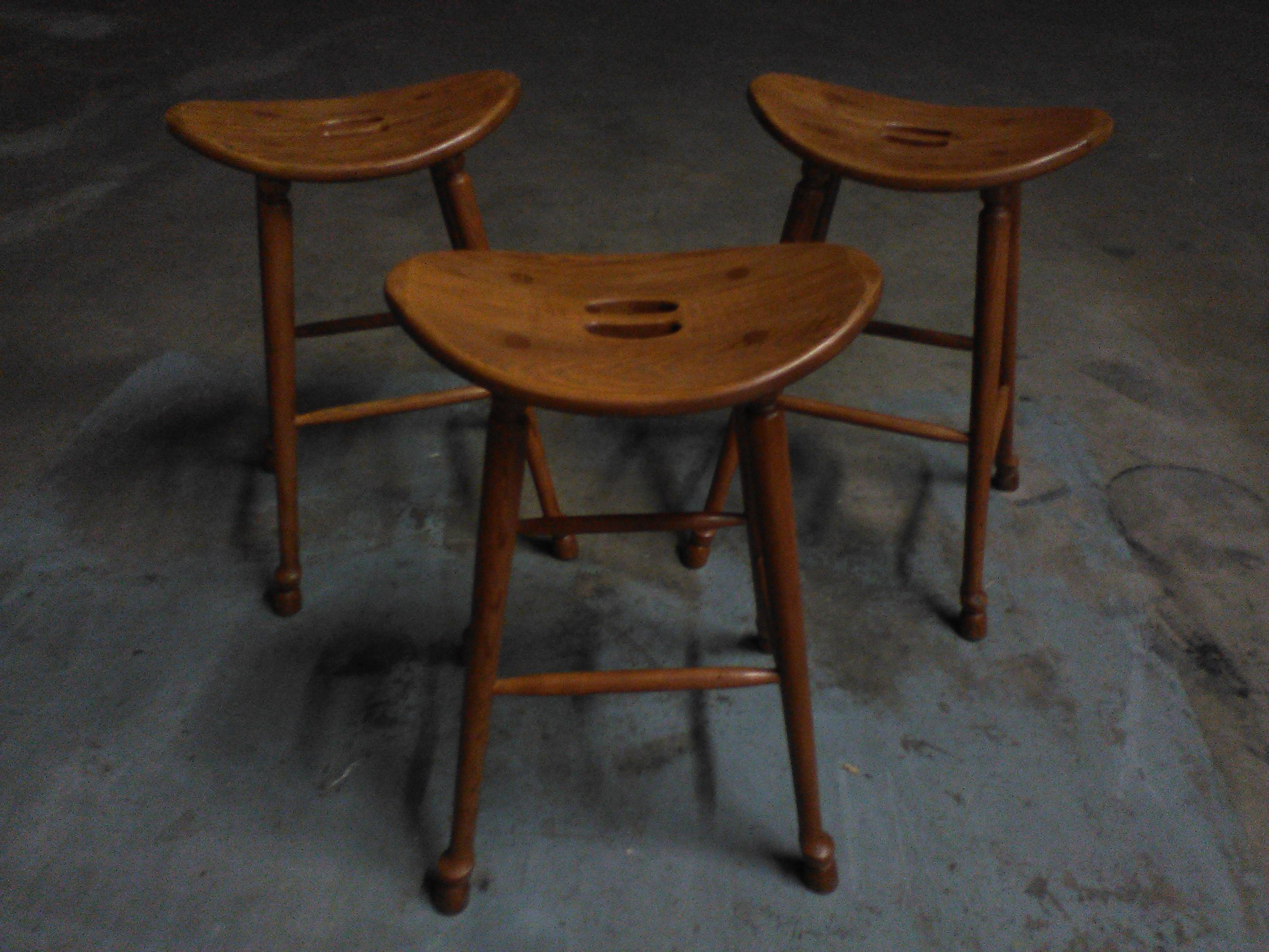 Saddle Seat Bar Stools Set Of 3 Chairish