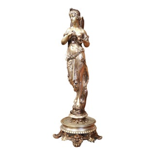 19th Century French Silvered Bronze Statue of a Roman Woman Standing on Dolphin