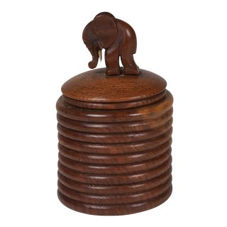 Wooden Lidded Jar with Elephant Decoration, German, 1920s