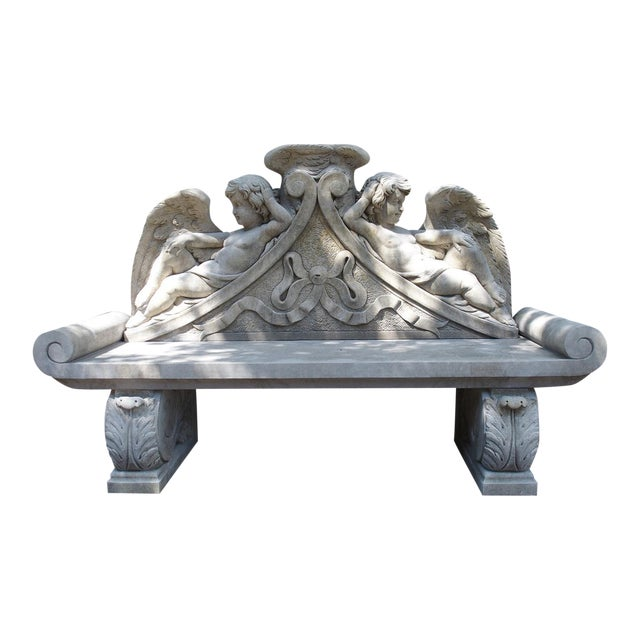 Winged Cherubs Carved Limestone Garden Bench from Italy - Image 1 of 11