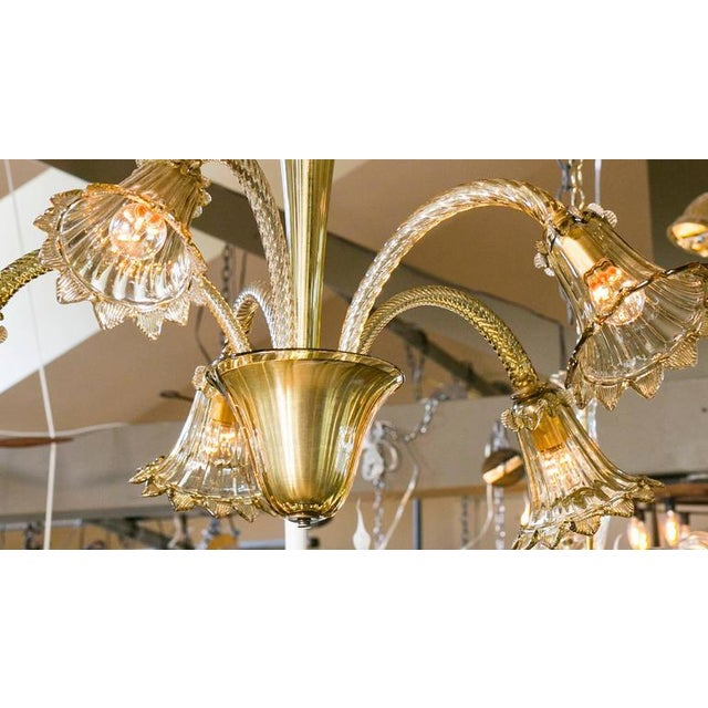 Olive Colored Murano Glass Down-Light Chandelier circa 1930 - Image 3 of 3