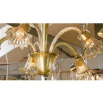 Image of Olive Colored Murano Glass Down-Light Chandelier circa 1930