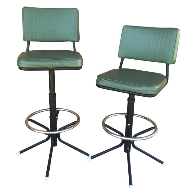 Mid-Century Bar Stools in Jade - A Pair - Image 1 of 11