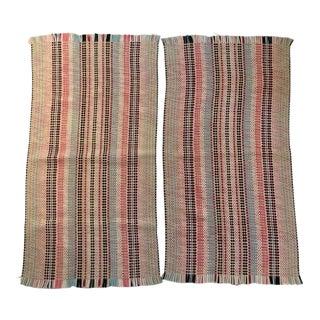 "1960's Vintage Soft Colors Rag Rugs - 1'10"" x 3'8"" - A Pair"