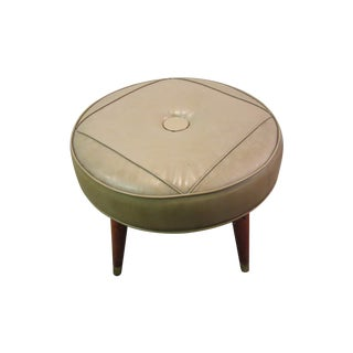 Danish Modern Atomic Splayed Legs Vinyl Stool