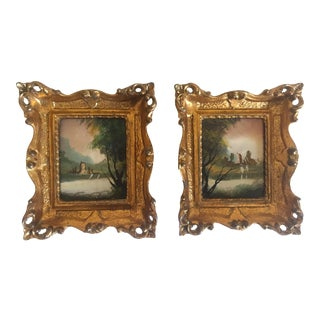 Vintage Minature 18th Century Style Oil Paintings- A Pair