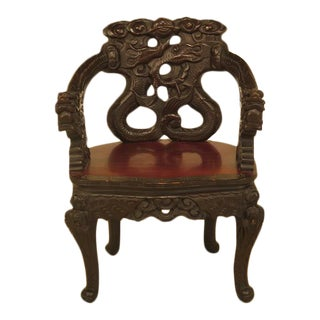 Antique Highly Carved Chinese Dragon Armchair