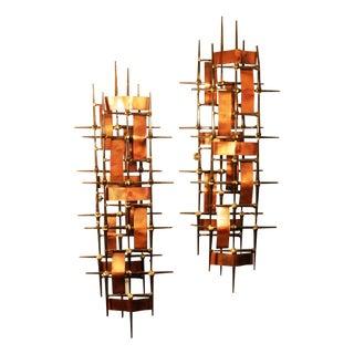 Mid Century Brutalist Metal Wall Sculptures - Pair