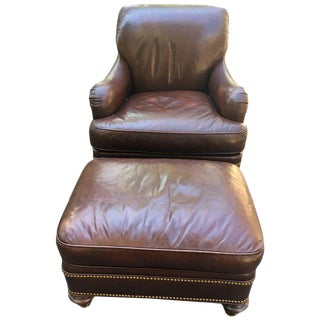 Sumptuous Chocolate Brown Leather Club Chair & Ottoman - A Pair