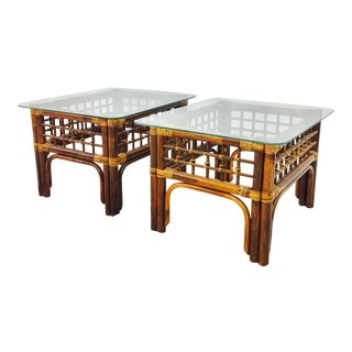 Vintage Ficks Reed Rattan & Glass Tables - A Pair