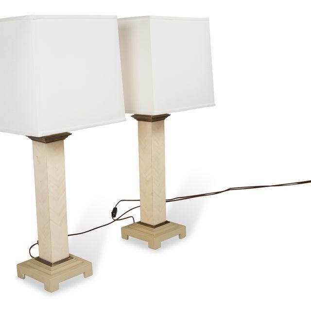 Maitland-Smith Chevron Column Lamps - A Pair - Image 6 of 8