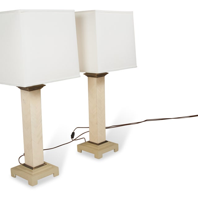 Image of Maitland-Smith Chevron Column Lamps - A Pair
