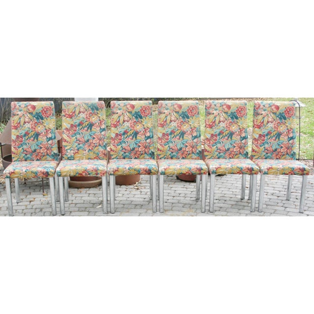 Milo Baughman Style Mid-Century Modern Chrome Dining Chairs- Set of 6 - Image 5 of 10
