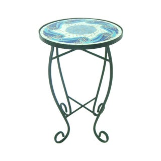 Black Wrought Iron Side Table W/Blue Mosaic Top