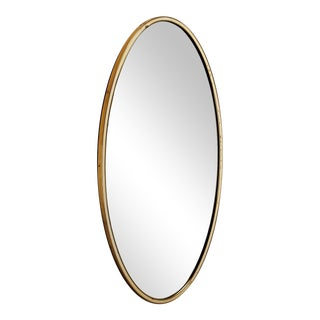 Oval Wall Mirror with Brass Frame and white rim, Germany, 1950s