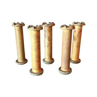 Vintage Wood Industrial Spools - Set of 5
