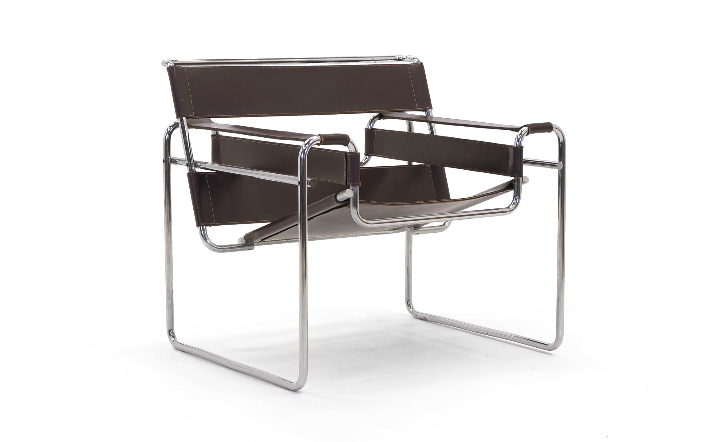 Early Original Knoll Gavina Wassily Chair By Marcel Breuer In Brown Leather    Image 3 Of