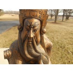 Image of Antique Hand Carved Solid Hardwood Samurai Warrior