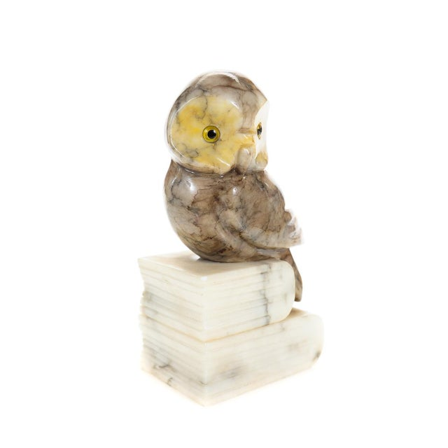 Image of Vintage Alabaster Owl Bookends- A Pair