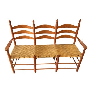 Cherry Wood and Woven Seat Bench