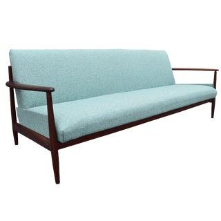 Turquoise Danish Modern Teak Sofa