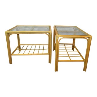 Vintage Rattan Glass Top Side Tables - Pair