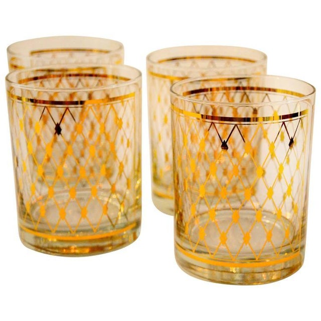 "Set of Four Georges Briard ""Harlequin"" Pattern Double Old Fashioned Glasses - Image 1 of 4"